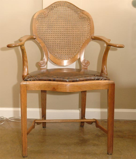 mid century cane barrel chair swivel for elderly back arm with tortoise leather at 1stdibs