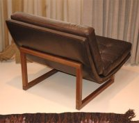 Single Armless Leather Lounge Chair at 1stdibs