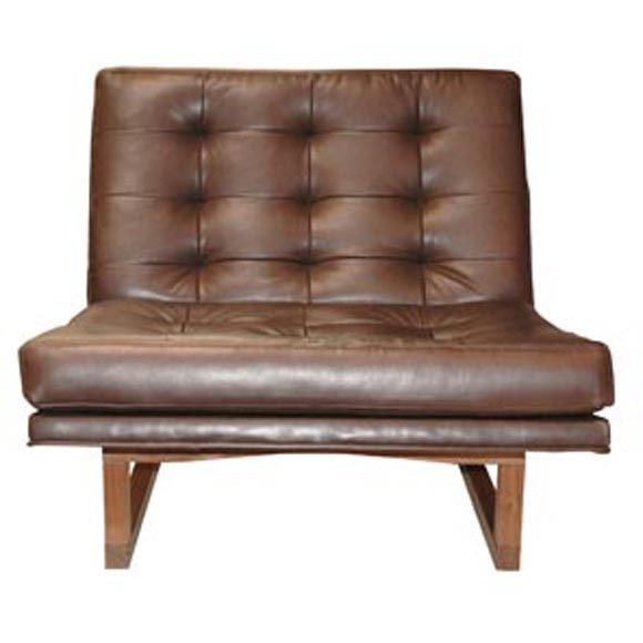 Cream Leather Occasional Chair
