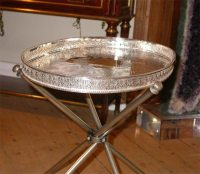 Pair of Sheffield Silver Plate Butler Tray Tables at 1stdibs