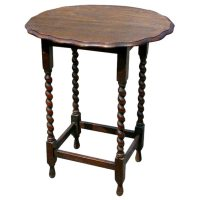 Oval Oak Spindle Leg Side Table at 1stdibs