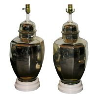Pair of 1930's Mercury Glass Ginger Jar Shaped Lamps at ...
