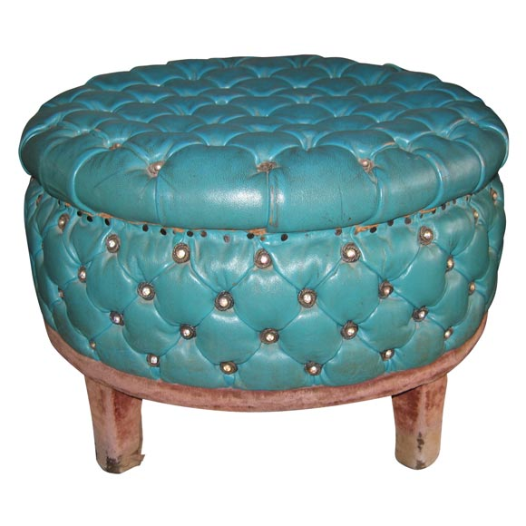 unusual armchair disney cars chair desk with storage bin 1920s tufted pouf in turquoise leather at 1stdibs
