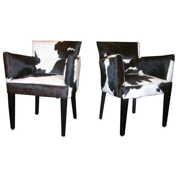 black and white cowhide chair modern metal dining chairs pair of custom spotted deco for sale