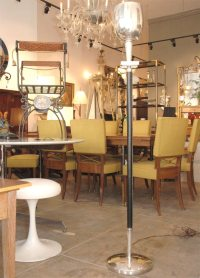 Leather and silver plated floor lamp attributed to ...