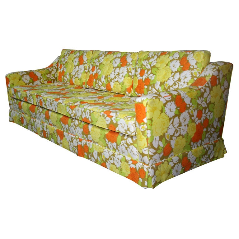 resin outdoor chairs papasan chair cushion cover palm beach sofa with original floral cotton upholstery at 1stdibs