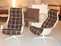 Pair or Swivel Chairs with Plaid Upholstery at 1stdibs
