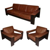 1970-1980 Brown Leather Living-Room Suite at 1stdibs