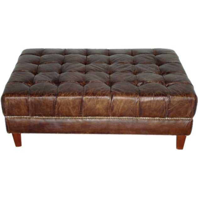 Coffee Tufted Large Table Ottoman