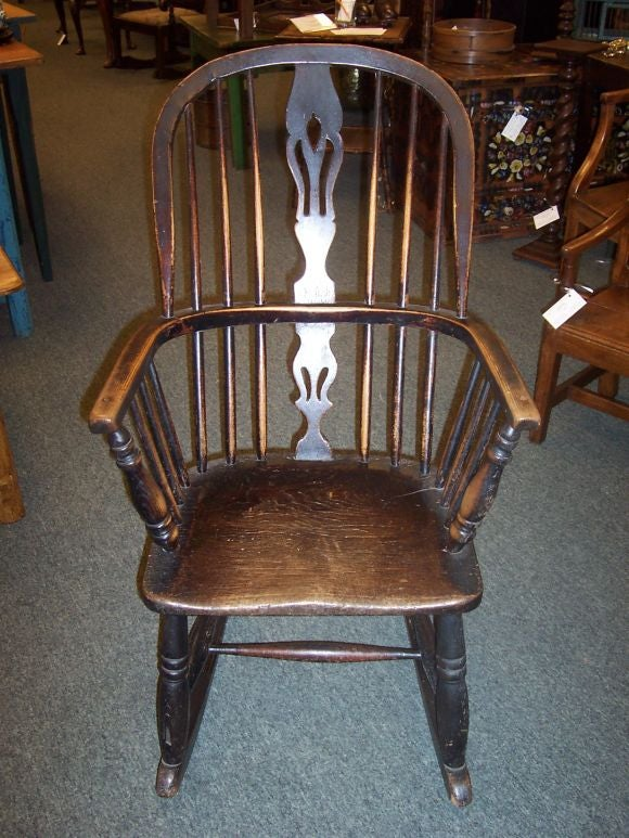 6 chair dining set comfy chairs antique pierced splat back windsor rocker at 1stdibs