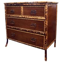 Antique Bamboo Leather Chest at 1stdibs