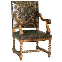 French 1940s Hand Tooled Leather Throne Chair For Sale at ...