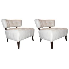 White Leather Slipper Chair Commercial Rail Pair Of Chairs Attributed To Billy Haines At For Sale