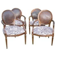Four Louis XV1 Style Leather and Zebra Print Chairs at 1stdibs