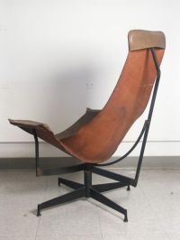 Luther Conover Leather Sling Swivel Lounge Chair at 1stdibs