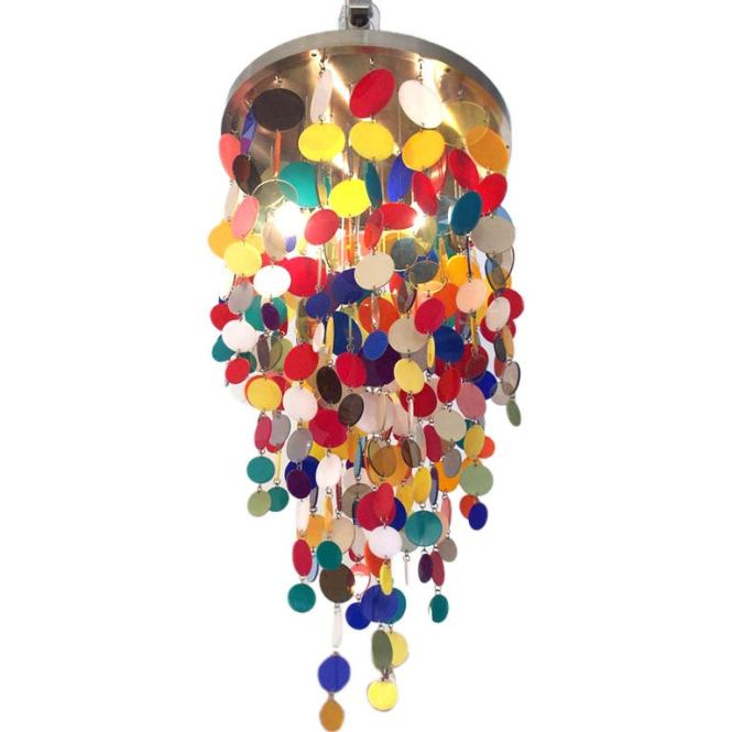 A Playful Colored Acrylic Disc Chandelier 1