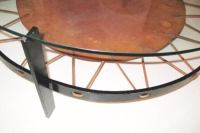 Round Cocktail Table With Leather Shelf at 1stdibs
