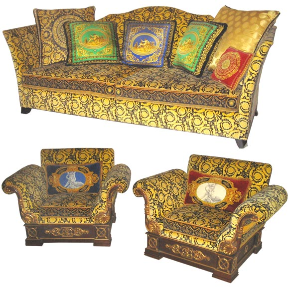 chair antique styles hanging edmonton gianni versace sofa and pair of club chairs at 1stdibs