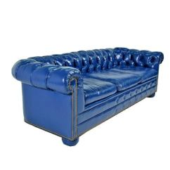 De Sede Sofa Vintage Steam Vacuum Cleaner Bright Blue Leather Chesterfield Sectional With ...