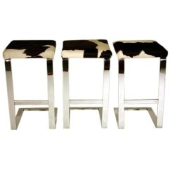Chair Stool Black Wedding Covers Pontefract Set Of Three Bar Stools In Chrome Steel With Cowhide Seats At 1stdibs