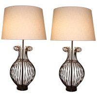 Pair of Scrolled Wire Table Lamps at 1stdibs