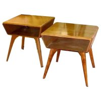 Pair of 50's Heywood Wakefield two-tier side tables at 1stdibs
