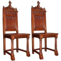 Pair of Neo Gothic Revival Chairs at 1stdibs