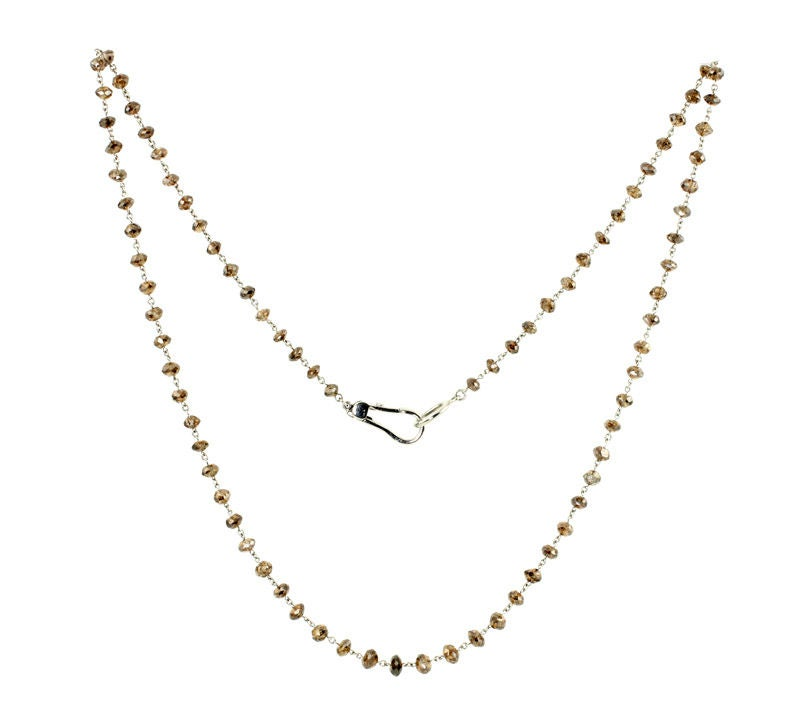Platinum and Brown Diamond Bead Necklace at 1stdibs