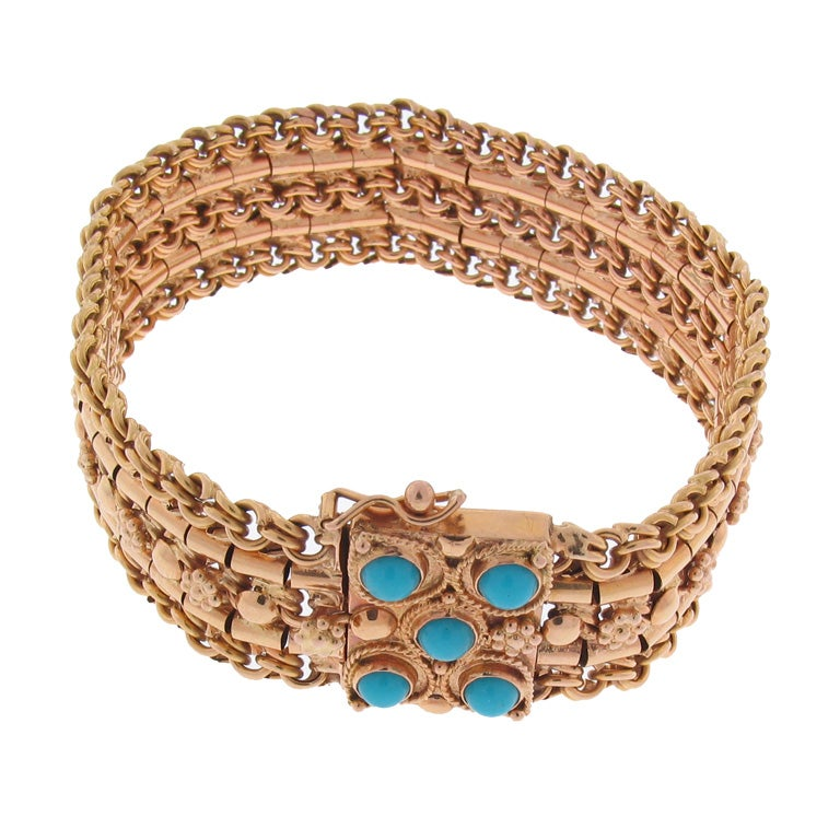 18K Rose Gold Retro Bracelet With Turquoise Set In The