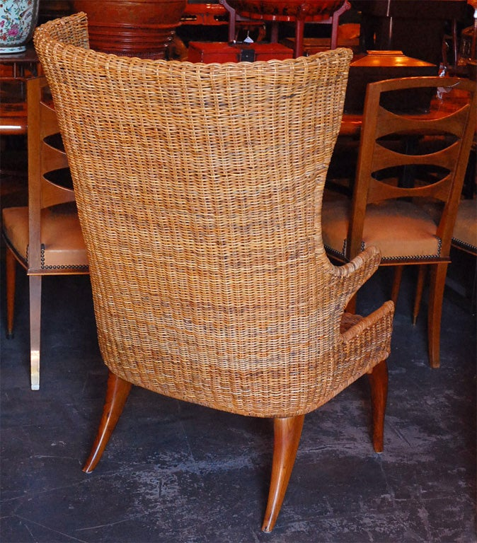 antique high back wicker chairs calming vibrations baby chair wing at 1stdibs