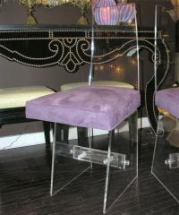 Pair of 1970's Purple Ultra Suede and Lucite Chairs at 1stdibs
