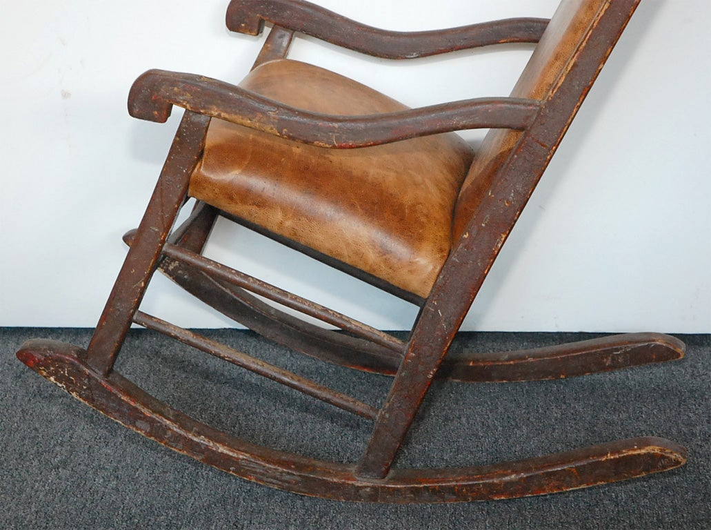 brown leather rocking chair porch cushions 19thc original painted w seat