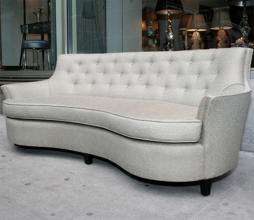 high back chesterfield sofa concrete block 1940's hollywood button at 1stdibs