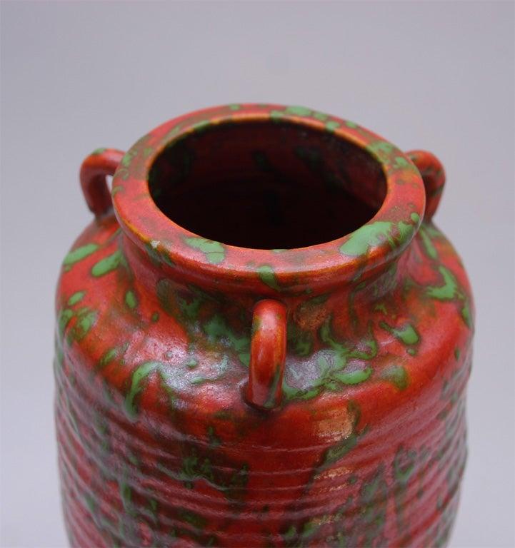 Japanese Awaji Art Pottery Chromium Orange And Green