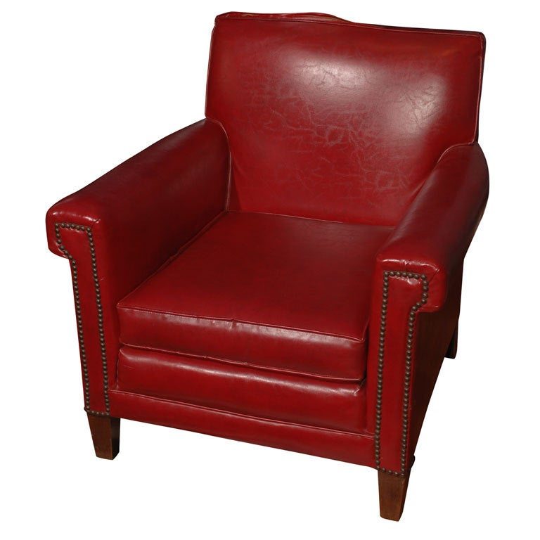 Red Leather Chair at 1stdibs
