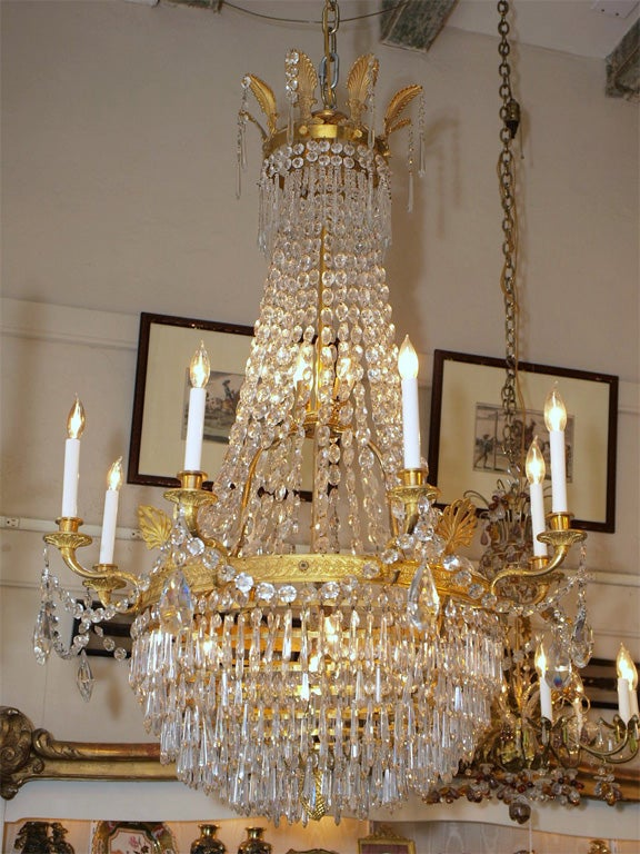 Antique Empire Ormulu Bronze And Baccarat Crystal Chandelier Circa 1880 1890s