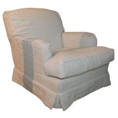 Slipcovers For Club Chairs Pink Velvet Desk Chair Uk With Linen Slipcover At 1stdibs