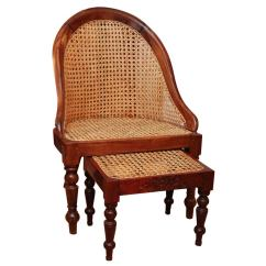 Folding Umpire Chair Cow Print Covers 19th Century British Colonial Teak Tub With Ottoman At 1stdibs