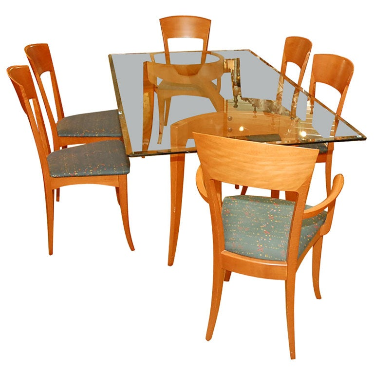 dining chairs with stainless steel legs oxo tot high chair recall italian table six by: a. sibau at 1stdibs