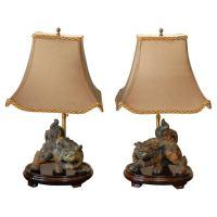Pr Foo Dog Table Lamps For Sale at 1stdibs