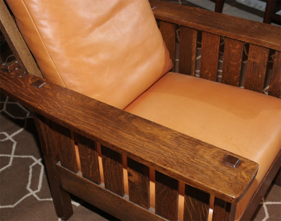 LJG Stickley Mission Reclining Morris Chair For Sale at
