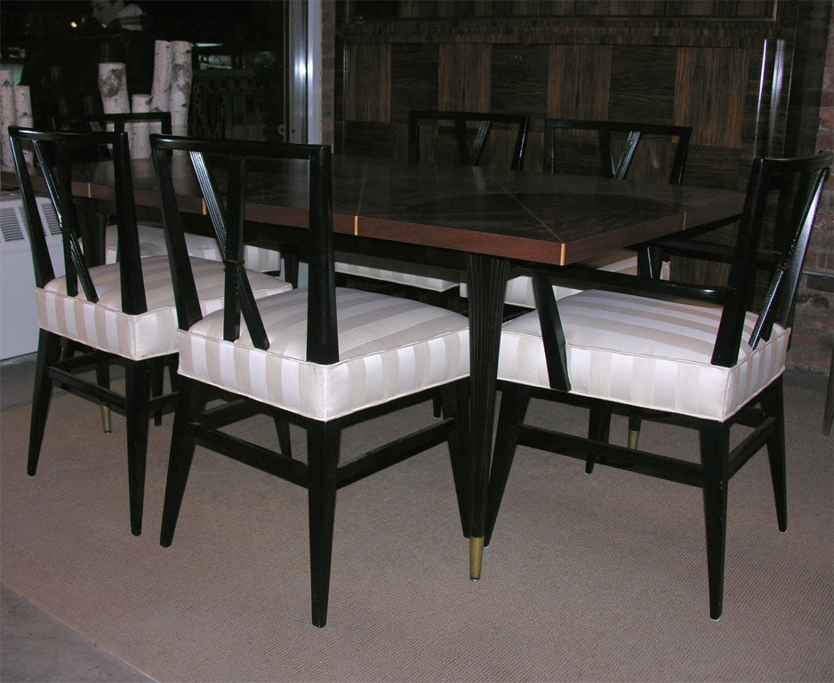 Tommi Parzinger Diamond Dining Table and Set of 8 Dining