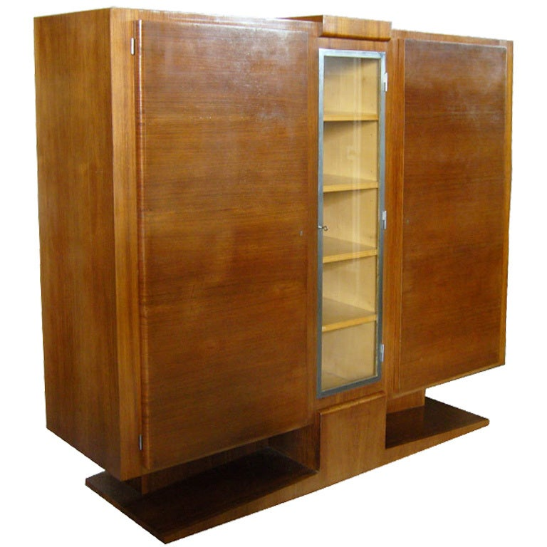 French Art Deco Rosewood Cabinet Or Armoire For Sale At