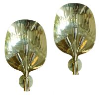 French Brass Palm Leaf Sconces at 1stdibs