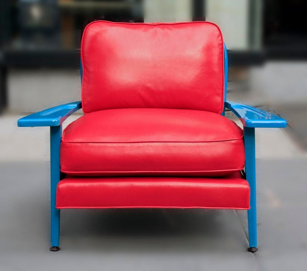 turquoise leather chair and ottoman folding plans pdf lacquered by paul laszlo at 1stdibs