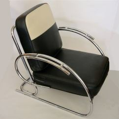 Leather Bucket Chair Dining Chairs Australia Streamline Moderne Art Deco Tubular Chrome At 1stdibs