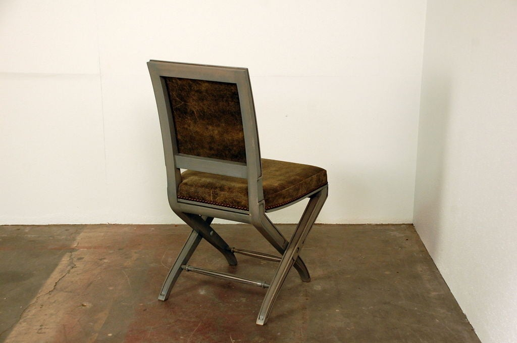 red desk chair no wheels yellow kitchen chairs chic gray lacquer and leather louis xvi style folding at 1stdibs