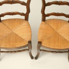 Country French Side Chairs Rising For The Elderly C 1930 Pair Of Ladder Back At