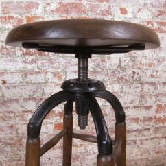 Stool Chair Adjustable Merits Power Parts 2 Vintage Industrial Wood And Cast Iron Drafting At 1stdibs
