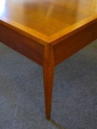 Mid Century Walnut Sidetable w/Caned Drawer at 1stdibs